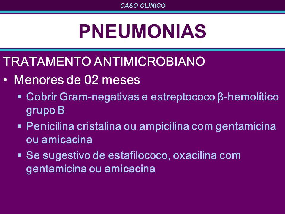 CASO CLÍNICO PNEUMONIAS TRATAMENTO ANTIMICROBIANO Menores de 02 meses Cobrir Gram-negativas e estreptococo β-hemolítico grupo B Penicilina cristalina