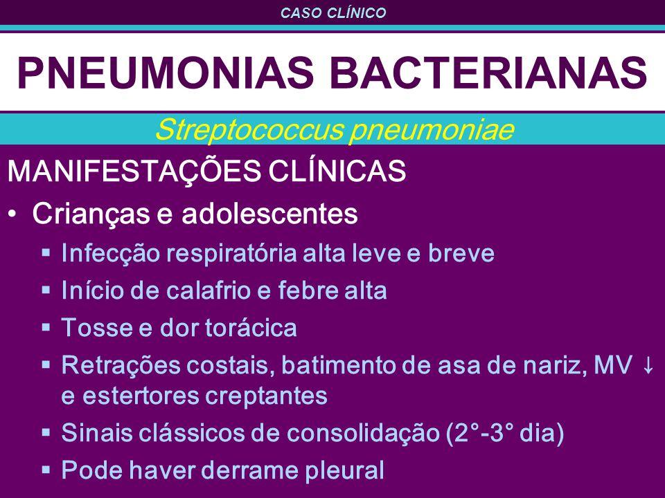 CASO CLÍNICO PNEUMONIAS BACTERIANAS MANIFESTAÇÕES CLÍNICAS Crianças e adolescentes Infecção respiratória alta leve e breve Início de calafrio e febre alta Tosse e dor torácica Retrações costais, batimento de asa de nariz, MV e estertores creptantes Sinais clássicos de consolidação (2°-3° dia) Pode haver derrame pleural Streptococcus pneumoniae