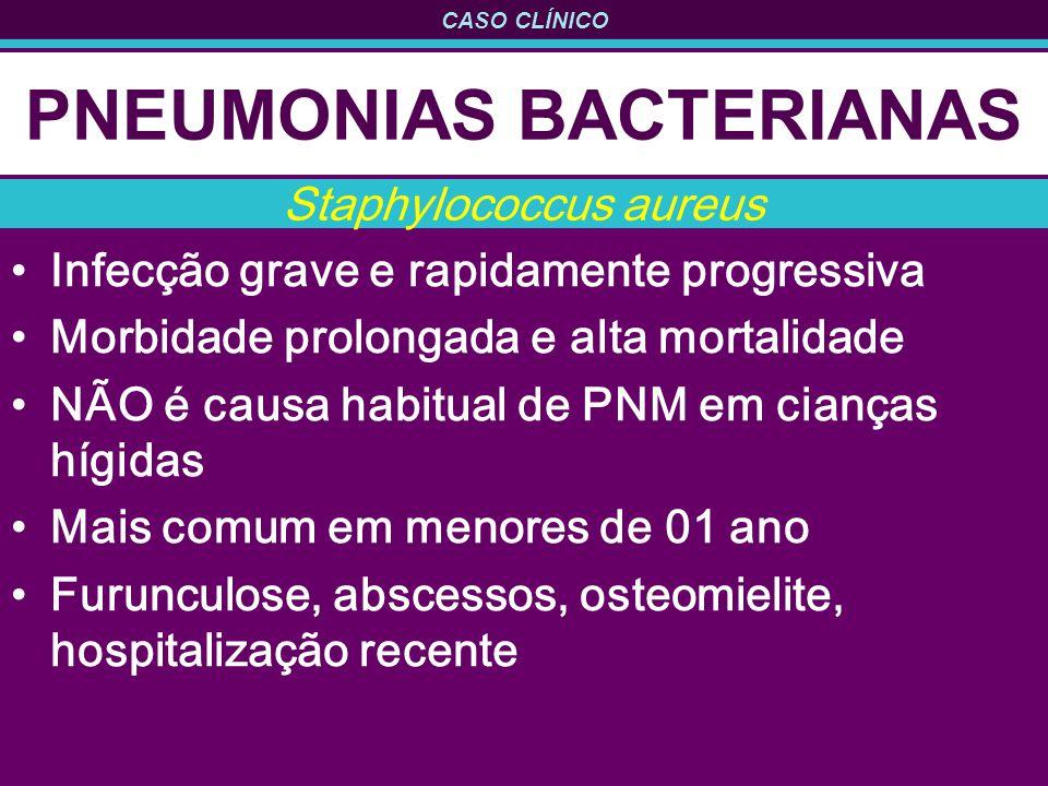 CASO CLÍNICO PNEUMONIAS BACTERIANAS Infecção grave e rapidamente progressiva Morbidade prolongada e alta mortalidade NÃO é causa habitual de PNM em ci
