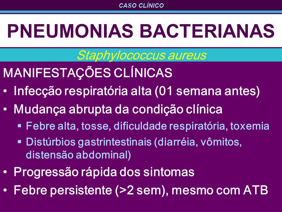CASO CLÍNICO PNEUMONIAS BACTERIANAS MANIFESTAÇÕES CLÍNICAS Infecção respiratória alta (01 semana antes) Mudança abrupta da condição clínica Febre alta