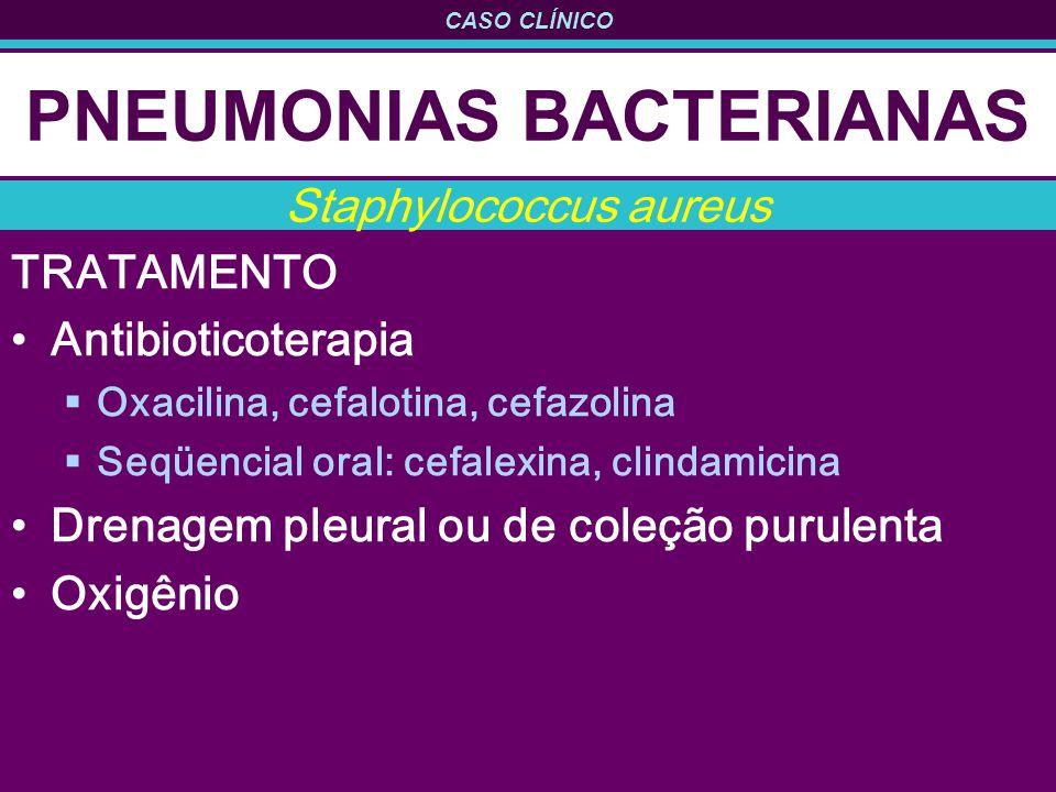CASO CLÍNICO PNEUMONIAS BACTERIANAS TRATAMENTO Antibioticoterapia Oxacilina, cefalotina, cefazolina Seqüencial oral: cefalexina, clindamicina Drenagem