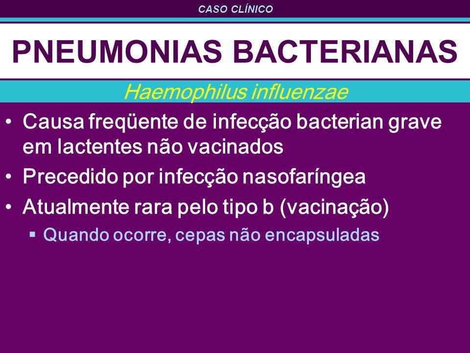 CASO CLÍNICO PNEUMONIAS BACTERIANAS Causa freqüente de infecção bacterian grave em lactentes não vacinados Precedido por infecção nasofaríngea Atualme
