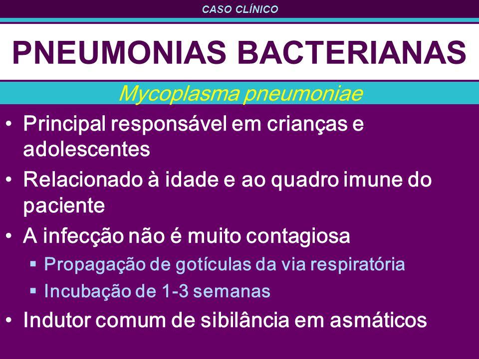 CASO CLÍNICO PNEUMONIAS BACTERIANAS Principal responsável em crianças e adolescentes Relacionado à idade e ao quadro imune do paciente A infecção não