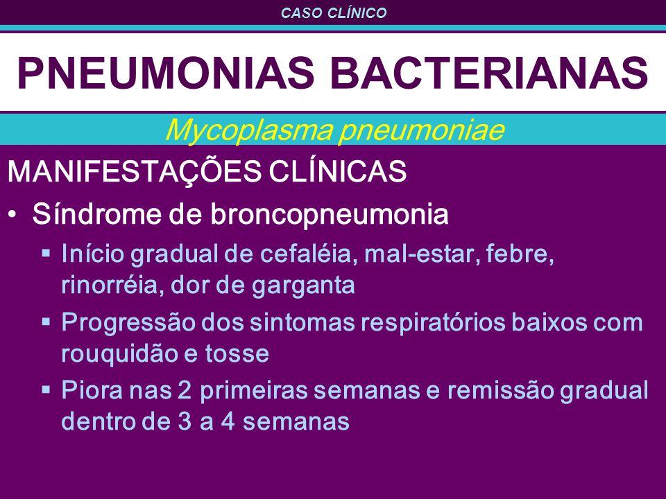 CASO CLÍNICO PNEUMONIAS BACTERIANAS MANIFESTAÇÕES CLÍNICAS Síndrome de broncopneumonia Início gradual de cefaléia, mal-estar, febre, rinorréia, dor de garganta Progressão dos sintomas respiratórios baixos com rouquidão e tosse Piora nas 2 primeiras semanas e remissão gradual dentro de 3 a 4 semanas Mycoplasma pneumoniae