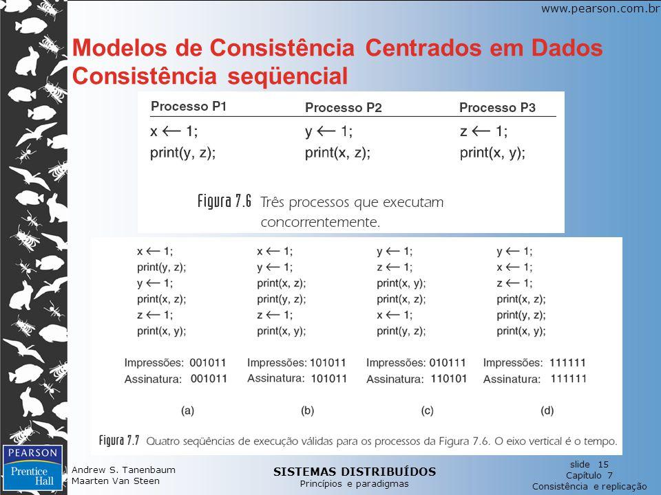 SISTEMAS DISTRIBUÍDOS Princípios e paradigmas slide 15 Capítulo 7 Consistência e replicação www.pearson.com.br Andrew S.