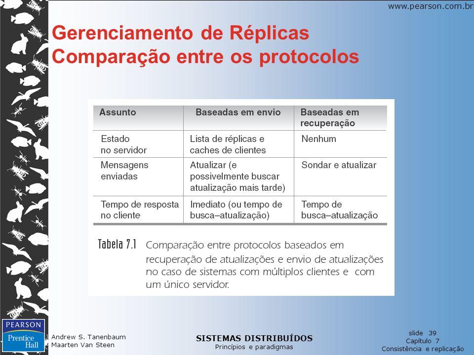 SISTEMAS DISTRIBUÍDOS Princípios e paradigmas slide 39 Capítulo 7 Consistência e replicação www.pearson.com.br Andrew S. Tanenbaum Maarten Van Steen G