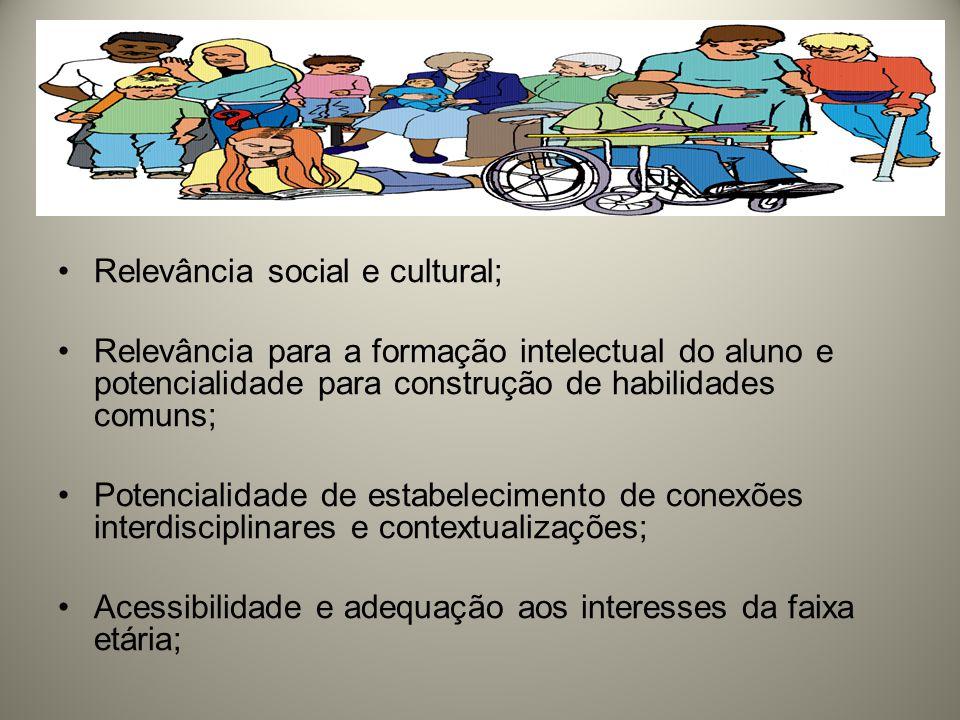 Relevância social e cultural; Relevância para a formação intelectual do aluno e potencialidade para construção de habilidades comuns; Potencialidade de estabelecimento de conexões interdisciplinares e contextualizações; Acessibilidade e adequação aos interesses da faixa etária;