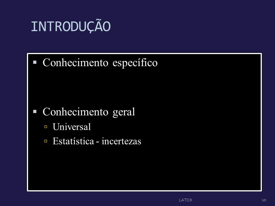 INTRODUÇÃO Conhecimento específico Conhecimento geral Universal Estatística - incertezas Conhecimento específico Conhecimento geral Universal Estatíst