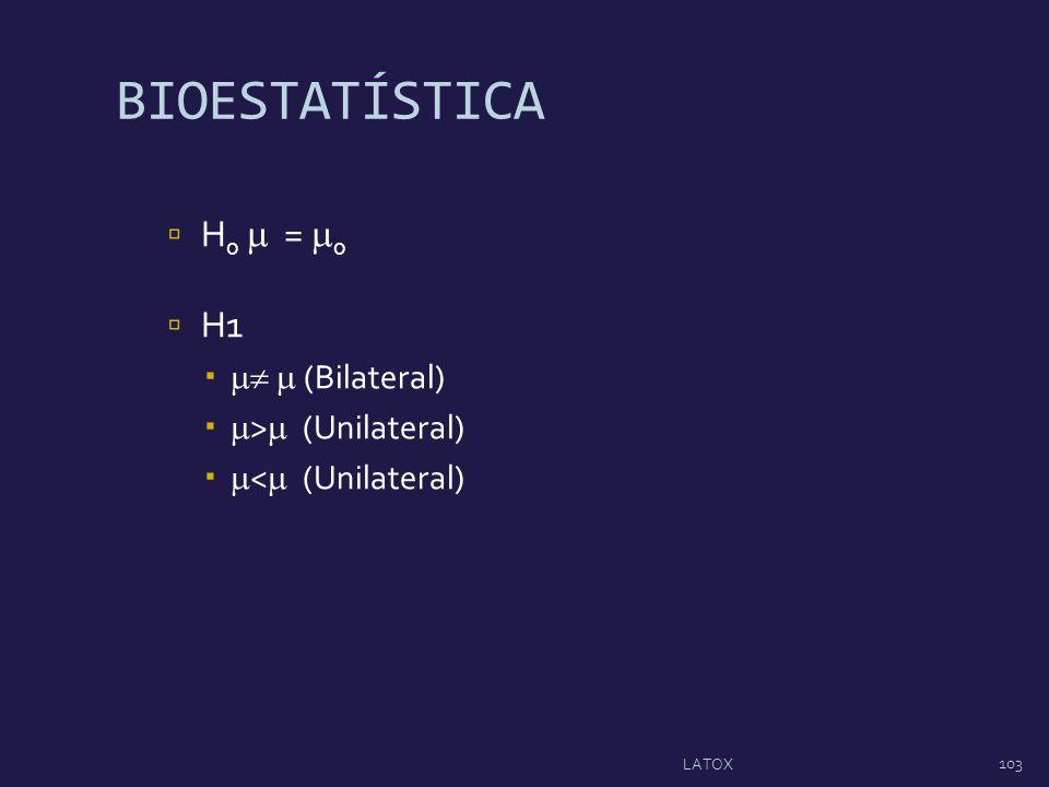 BIOESTATÍSTICA H 0 = 0 H1 (Bilateral) > (Unilateral) < (Unilateral) 103 LATOX