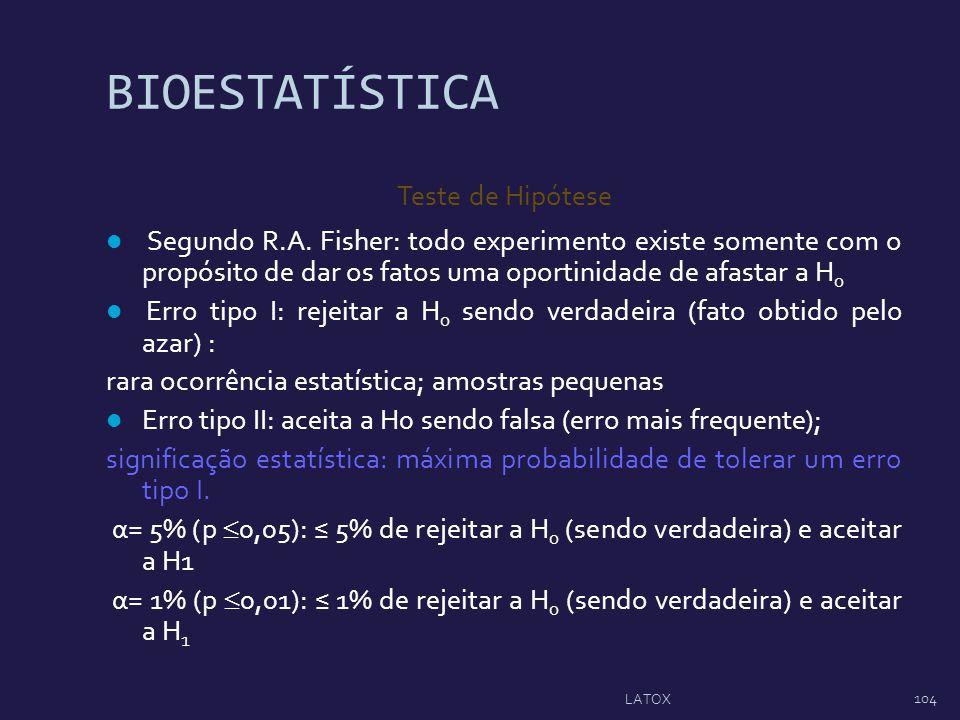 BIOESTATÍSTICA Teste de Hipótese Segundo R.A. Fisher: todo experimento existe somente com o propósito de dar os fatos uma oportinidade de afastar a H