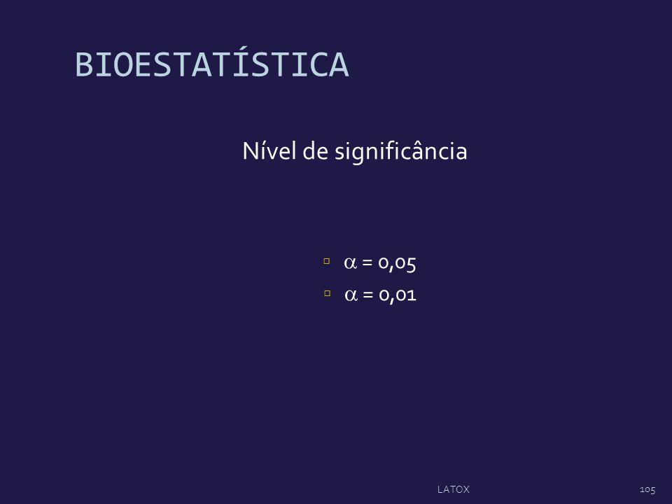 BIOESTATÍSTICA Nível de significância = 0,05 = 0,01 105 LATOX