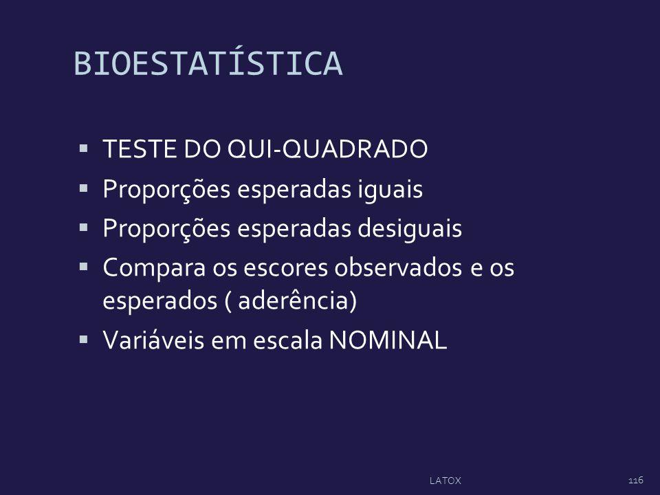 BIOESTATÍSTICA TESTE DO QUI-QUADRADO Proporções esperadas iguais Proporções esperadas desiguais Compara os escores observados e os esperados ( aderênc