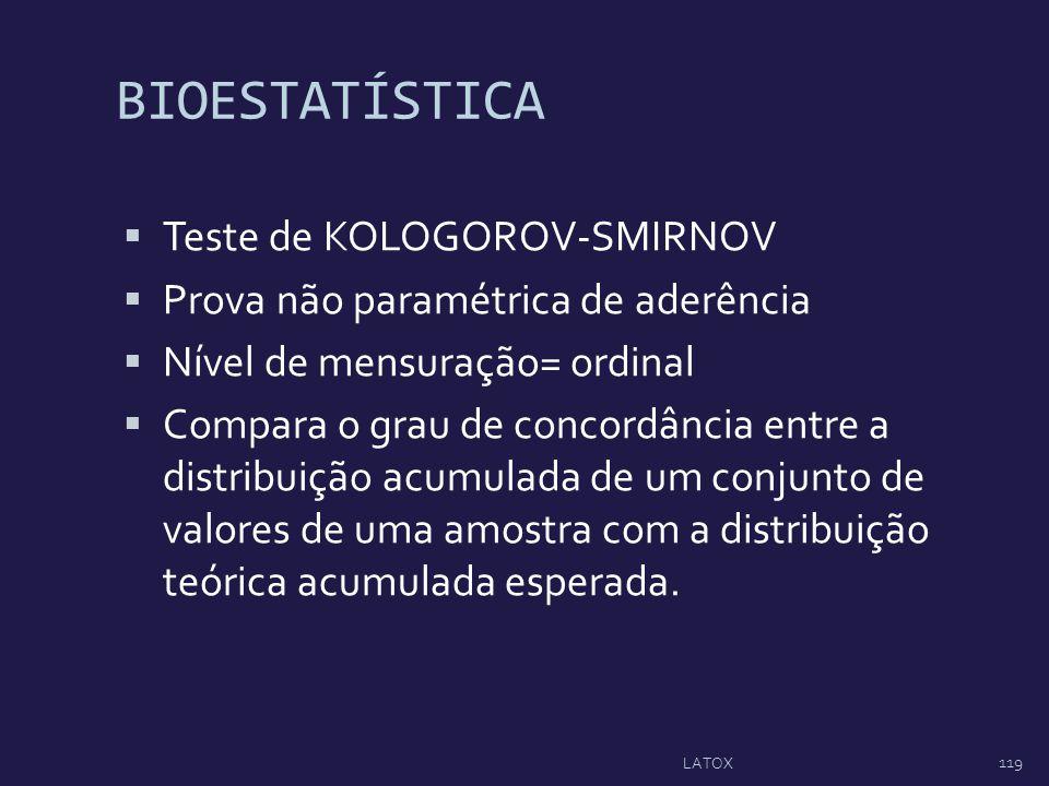 BIOESTATÍSTICA Teste de KOLOGOROV-SMIRNOV Prova não paramétrica de aderência Nível de mensuração= ordinal Compara o grau de concordância entre a distr