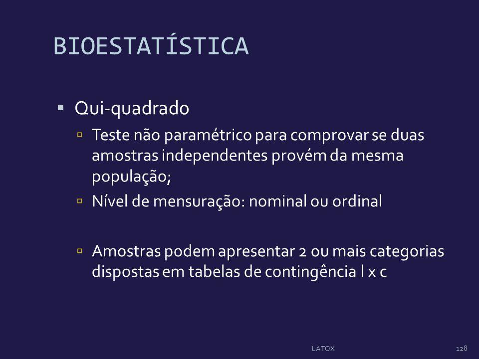 BIOESTATÍSTICA Qui-quadrado Teste não paramétrico para comprovar se duas amostras independentes provém da mesma população; Nível de mensuração: nomina