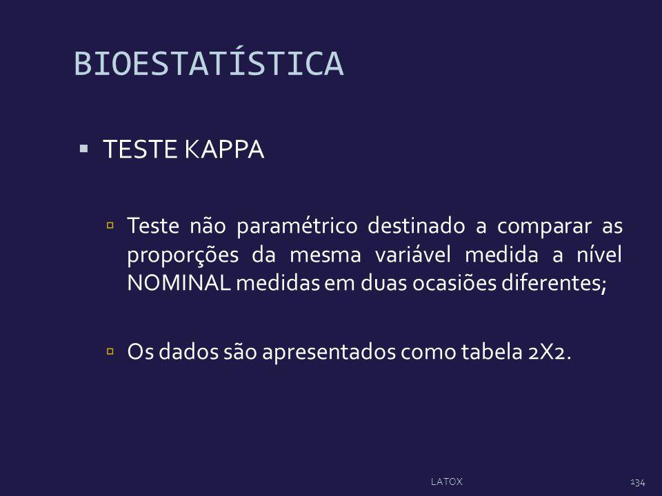 BIOESTATÍSTICA TESTE KAPPA Teste não paramétrico destinado a comparar as proporções da mesma variável medida a nível NOMINAL medidas em duas ocasiões