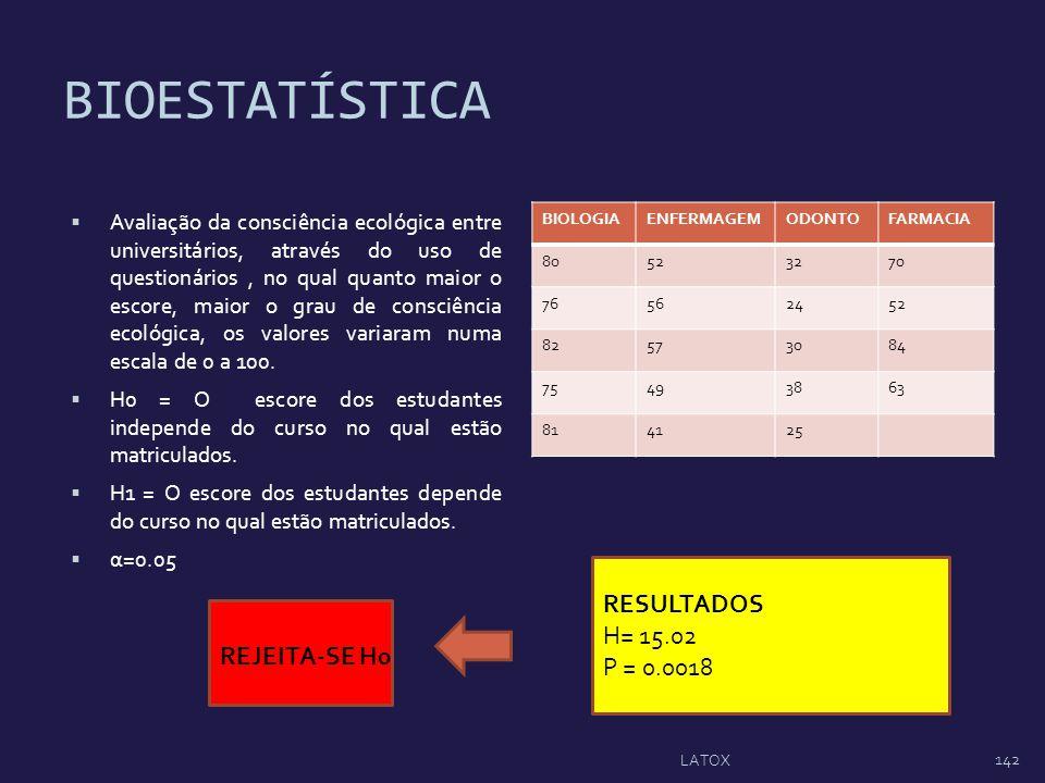 BIOESTATÍSTICA Avaliação da consciência ecológica entre universitários, através do uso de questionários, no qual quanto maior o escore, maior o grau d