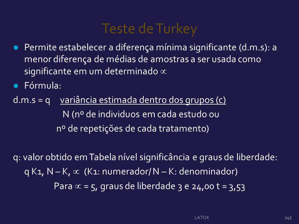 Teste de Turkey Permite estabelecer a diferença mínima significante (d.m.s): a menor diferença de médias de amostras a ser usada como significante em