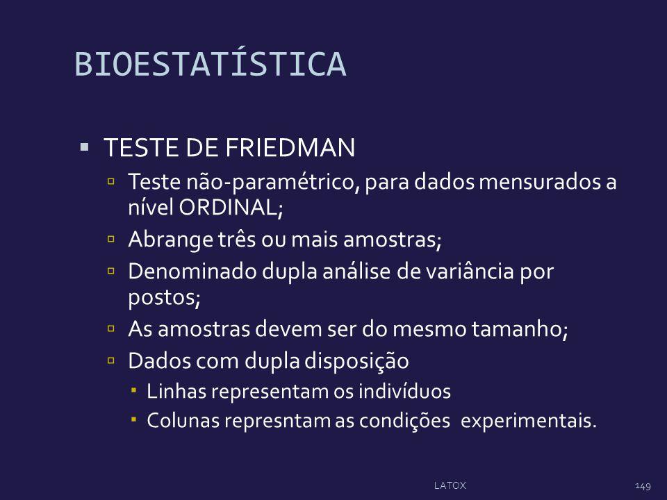 BIOESTATÍSTICA TESTE DE FRIEDMAN Teste não-paramétrico, para dados mensurados a nível ORDINAL; Abrange três ou mais amostras; Denominado dupla análise