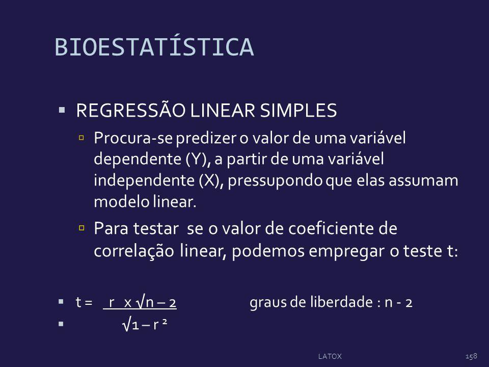 BIOESTATÍSTICA REGRESSÃO LINEAR SIMPLES Procura-se predizer o valor de uma variável dependente (Y), a partir de uma variável independente (X), pressup