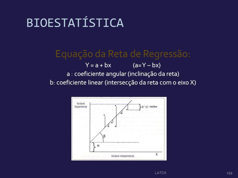 BIOESTATÍSTICA Equação da Reta de Regressão: Y = a + bx(a= Y – bx) a : coeficiente angular (inclinação da reta) b: coeficiente linear (intersecção da