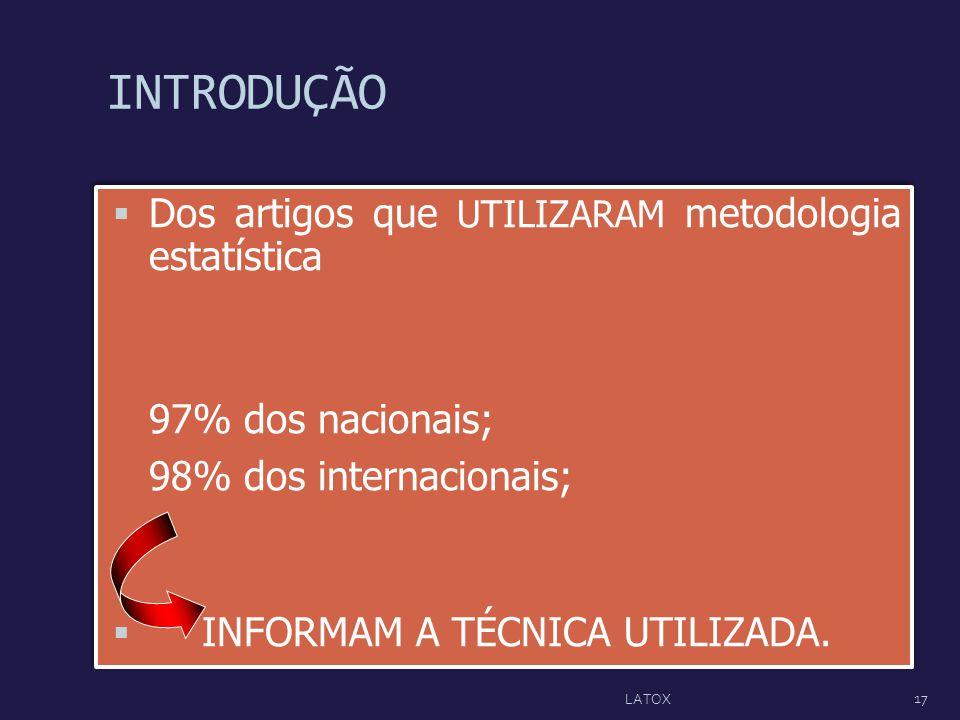 INTRODUÇÃO Dos artigos que UTILIZARAM metodologia estatística 97% dos nacionais; 98% dos internacionais; INFORMAM A TÉCNICA UTILIZADA. Dos artigos que