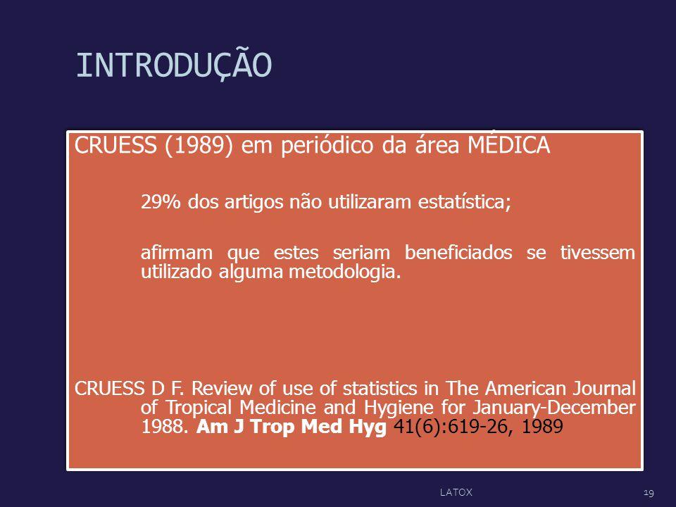 INTRODUÇÃO CRUESS (1989) em periódico da área MÉDICA 29% dos artigos não utilizaram estatística; afirmam que estes seriam beneficiados se tivessem uti
