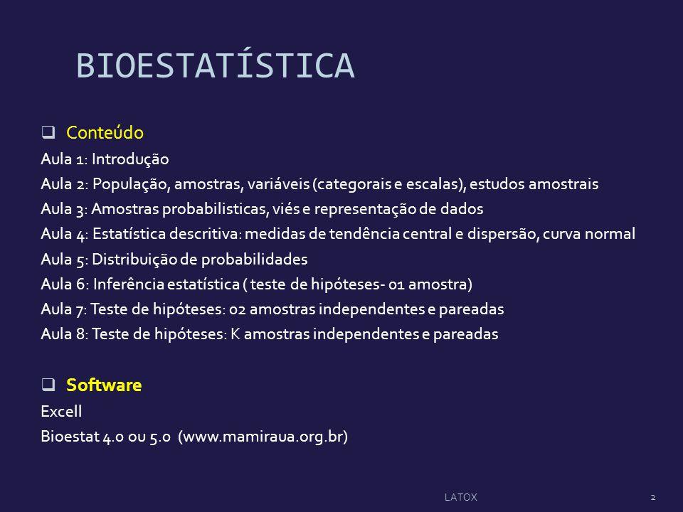 BIOESTATÍSTICA Conteúdo Aula 1: Introdução Aula 2: População, amostras, variáveis (categorais e escalas), estudos amostrais Aula 3: Amostras probabili