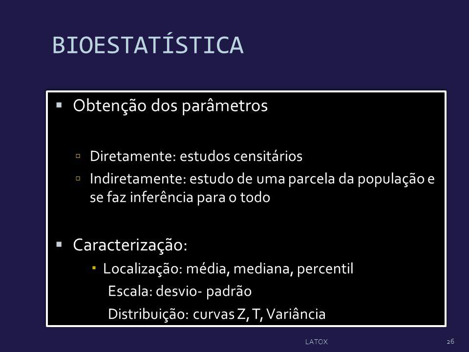 BIOESTATÍSTICA Obtenção dos parâmetros Diretamente: estudos censitários Indiretamente: estudo de uma parcela da população e se faz inferência para o t