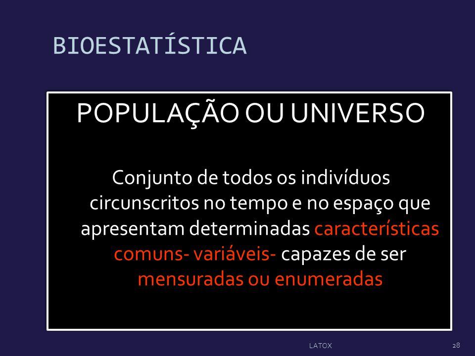 BIOESTATÍSTICA POPULAÇÃO OU UNIVERSO Conjunto de todos os indivíduos circunscritos no tempo e no espaço que apresentam determinadas características co