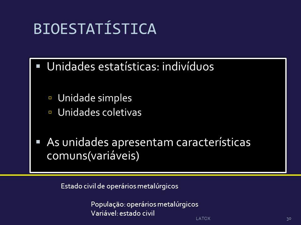 BIOESTATÍSTICA Unidades estatísticas: indivíduos Unidade simples Unidades coletivas As unidades apresentam características comuns(variáveis) Unidades