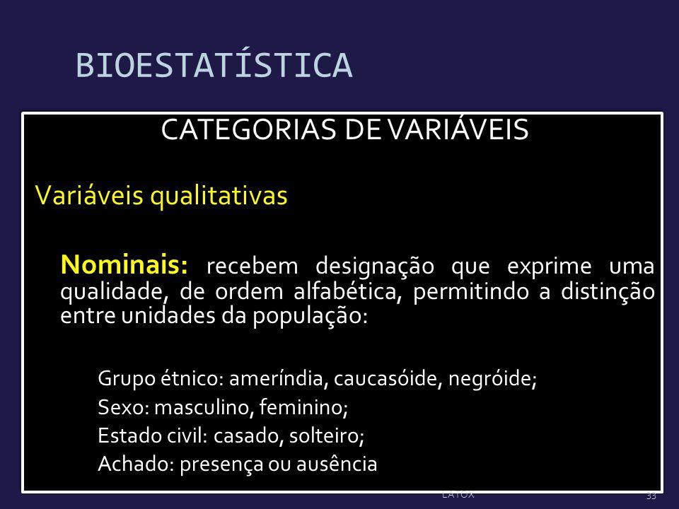 BIOESTATÍSTICA CATEGORIAS DE VARIÁVEIS Variáveis qualitativas Nominais: recebem designação que exprime uma qualidade, de ordem alfabética, permitindo
