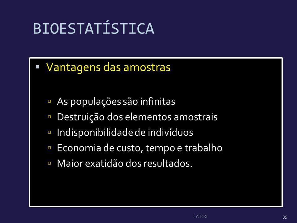 BIOESTATÍSTICA Vantagens das amostras As populações são infinitas Destruição dos elementos amostrais Indisponibilidade de indivíduos Economia de custo