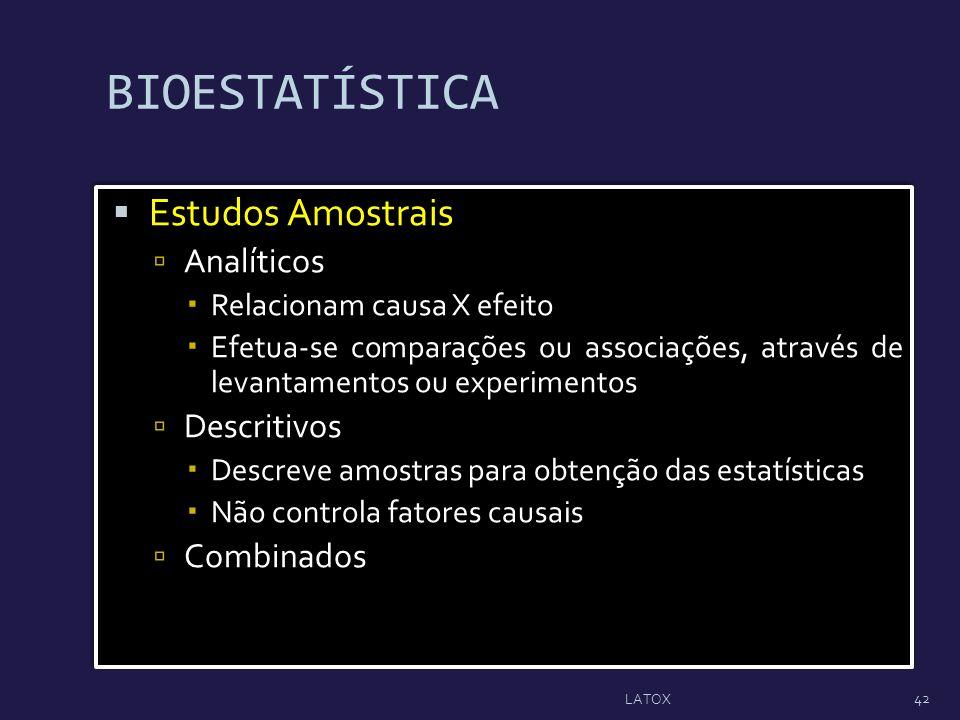 Estudos Amostrais Analíticos Relacionam causa X efeito Efetua-se comparações ou associações, através de levantamentos ou experimentos Descritivos Desc