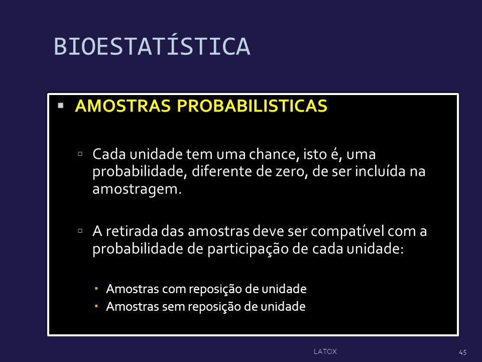 BIOESTATÍSTICA AMOSTRAS PROBABILISTICAS Cada unidade tem uma chance, isto é, uma probabilidade, diferente de zero, de ser incluída na amostragem. A re