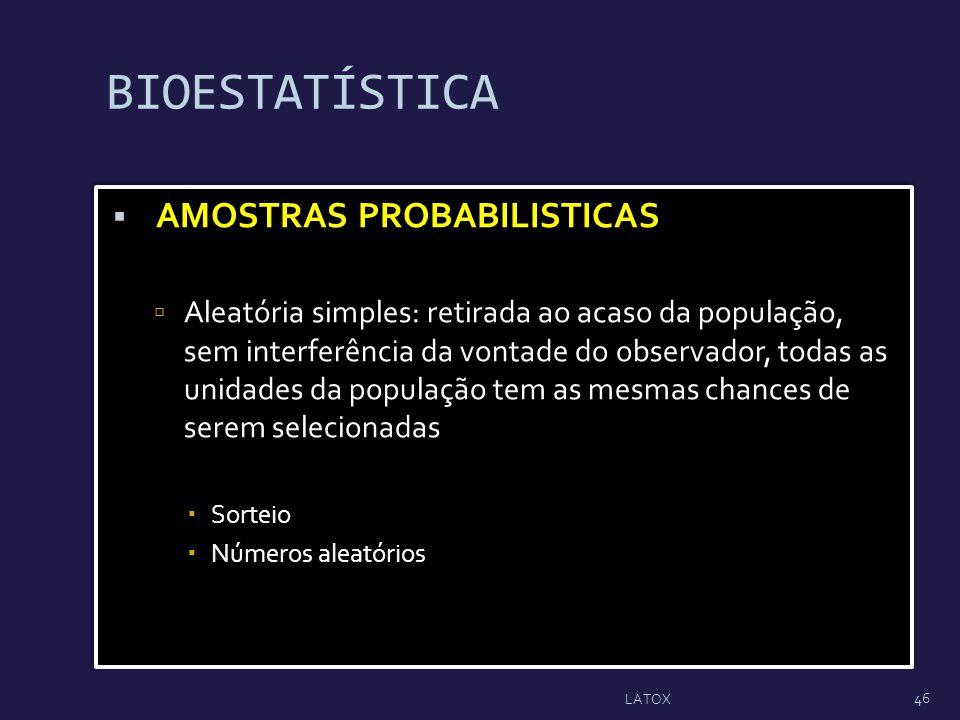 BIOESTATÍSTICA AMOSTRAS PROBABILISTICAS Aleatória simples: retirada ao acaso da população, sem interferência da vontade do observador, todas as unidad