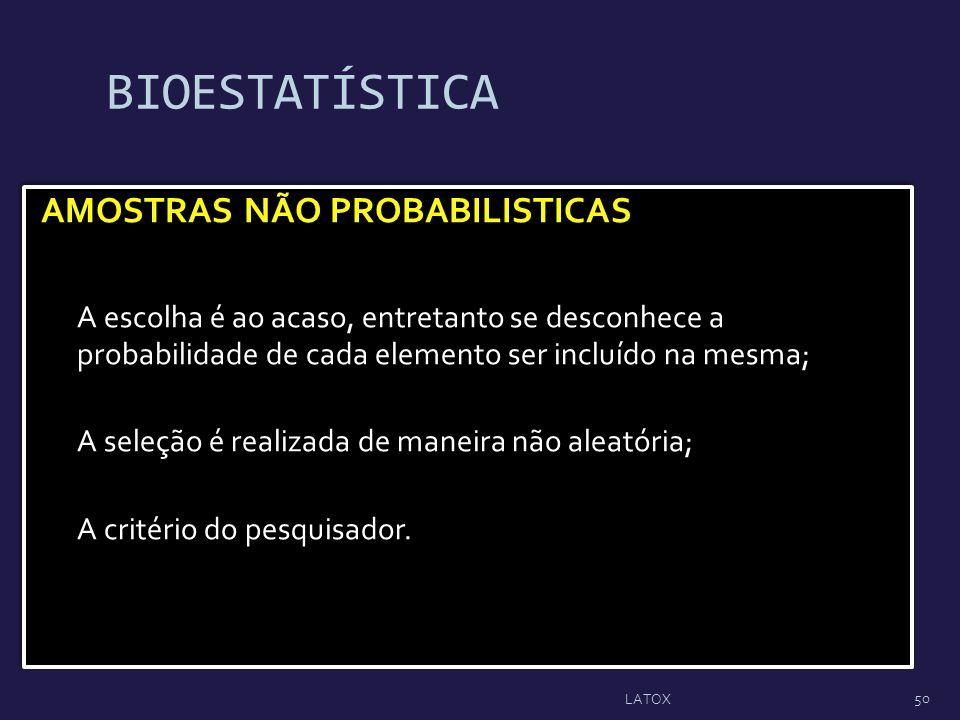 BIOESTATÍSTICA AMOSTRAS NÃO PROBABILISTICAS A escolha é ao acaso, entretanto se desconhece a probabilidade de cada elemento ser incluído na mesma; A s