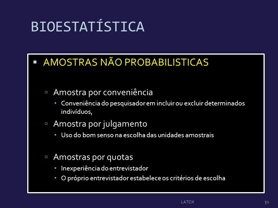 BIOESTATÍSTICA AMOSTRAS NÃO PROBABILISTICAS Amostra por conveniência Conveniência do pesquisador em incluir ou excluir determinados indivíduos, Amostr