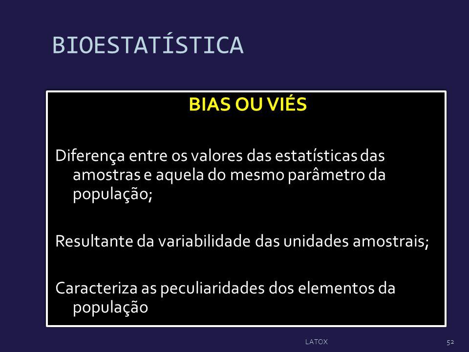 BIOESTATÍSTICA BIAS OU VIÉS Diferença entre os valores das estatísticas das amostras e aquela do mesmo parâmetro da população; Resultante da variabili