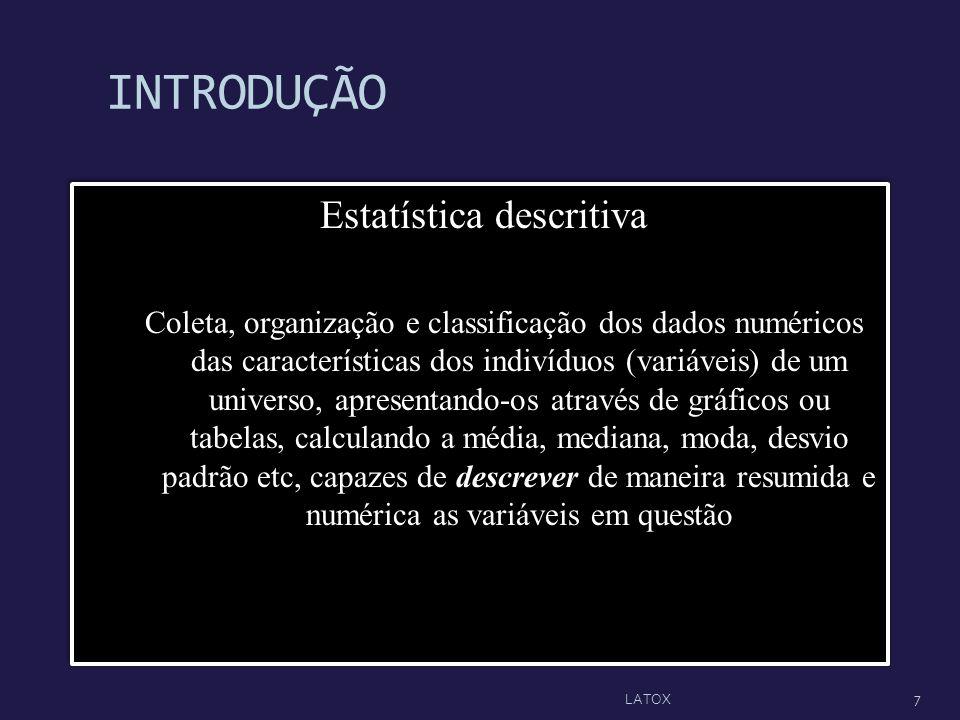 INTRODUÇÃO Estatística descritiva Coleta, organização e classificação dos dados numéricos das características dos indivíduos (variáveis) de um univers