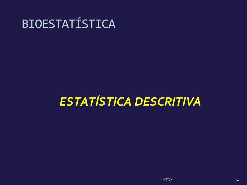 ESTATÍSTICA DESCRITIVA BIOESTATÍSTICA 71 LATOX