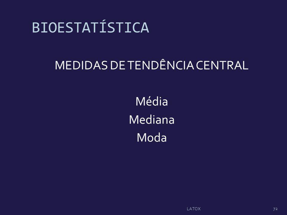 BIOESTATÍSTICA MEDIDAS DE TENDÊNCIA CENTRAL Média Mediana Moda 72 LATOX