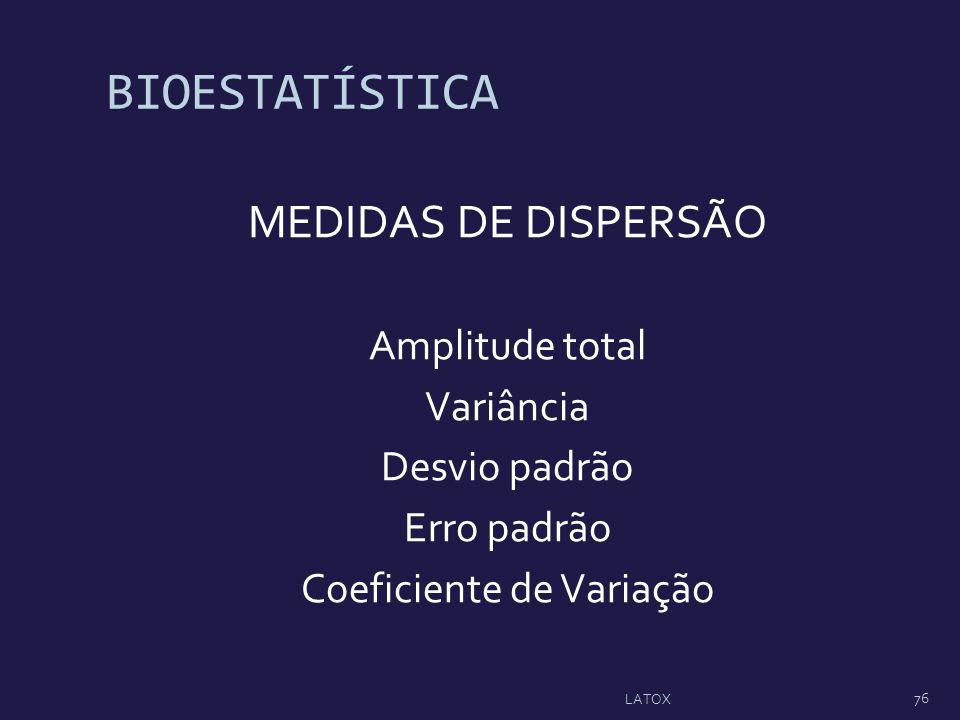 BIOESTATÍSTICA MEDIDAS DE DISPERSÃO Amplitude total Variância Desvio padrão Erro padrão Coeficiente de Variação 76 LATOX