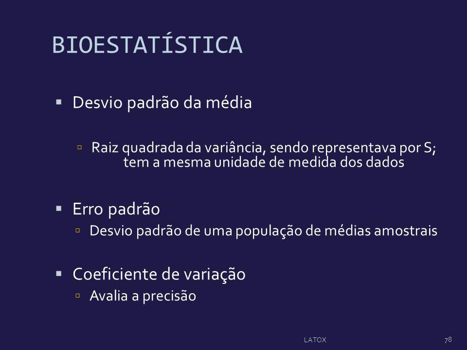 BIOESTATÍSTICA Desvio padrão da média Raiz quadrada da variância, sendo representava por S; tem a mesma unidade de medida dos dados Erro padrão Desvio