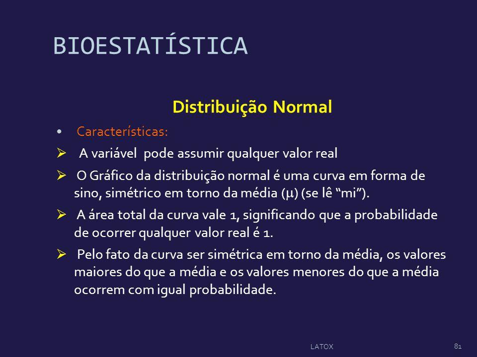 BIOESTATÍSTICA Distribuição Normal Características: A variável pode assumir qualquer valor real O Gráfico da distribuição normal é uma curva em forma
