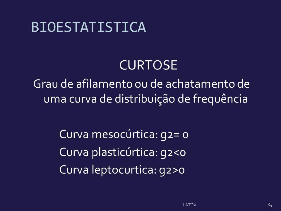 BIOESTATISTICA CURTOSE Grau de afilamento ou de achatamento de uma curva de distribuição de frequência Curva mesocúrtica: g2= 0 Curva plasticúrtica: g