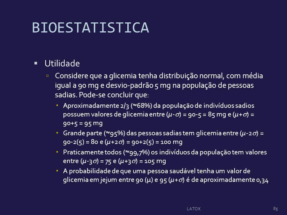 BIOESTATISTICA Utilidade Considere que a glicemia tenha distribuição normal, com média igual a 90 mg e desvio-padrão 5 mg na população de pessoas sadi