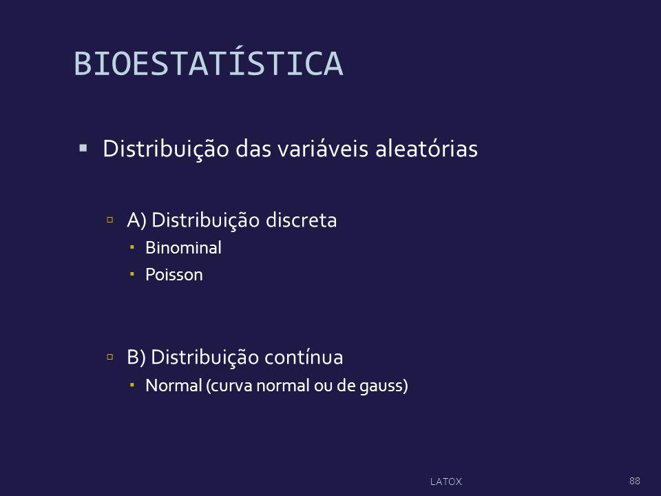 BIOESTATÍSTICA Distribuição das variáveis aleatórias A) Distribuição discreta Binominal Poisson B) Distribuição contínua Normal (curva normal ou de ga