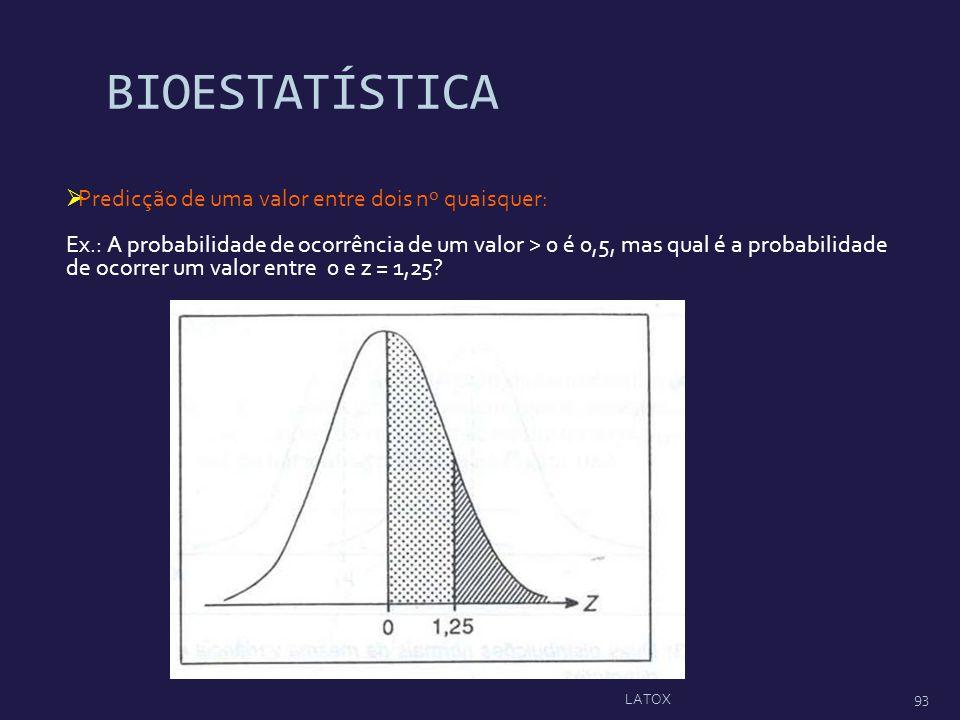 BIOESTATÍSTICA Predicção de uma valor entre dois nº quaisquer: Ex.: A probabilidade de ocorrência de um valor > 0 é 0,5, mas qual é a probabilidade de