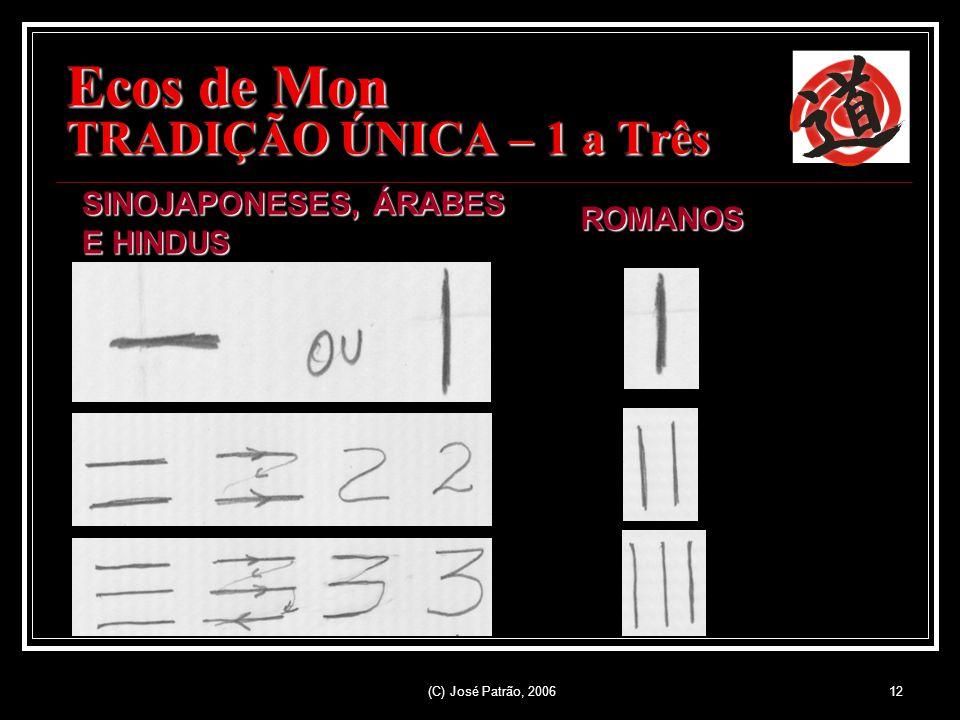 (C) José Patrão, 200612 Ecos de Mon TRADIÇÃO ÚNICA – 1 a Três SINOJAPONESES, ÁRABES E HINDUS ROMANOS