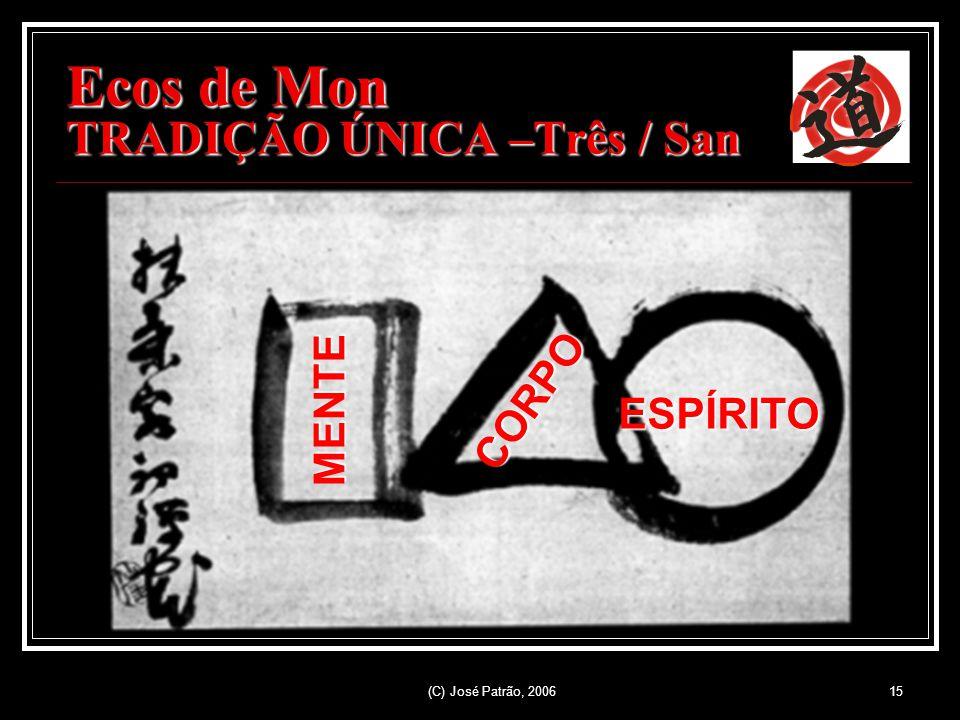 (C) José Patrão, 200615 Ecos de Mon TRADIÇÃO ÚNICA –Três / San MENTE CORPO ESPÍRITO